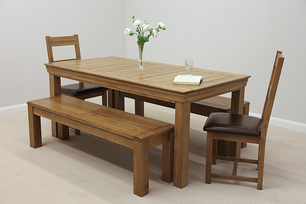table 2 chairs and bench. french farmhouse 6ft solid oak dining table + 2 x 4ft 11\ chairs and bench