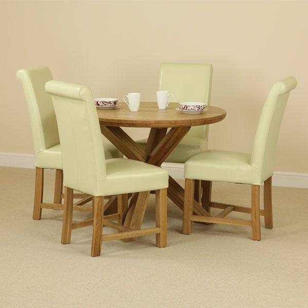 natural solid oak dining set 3ft 7 round table with 4 braced cream leather chairs. Black Bedroom Furniture Sets. Home Design Ideas