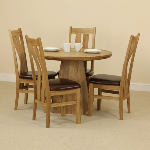 provence natural solid oak dining set 3ft 7 round table