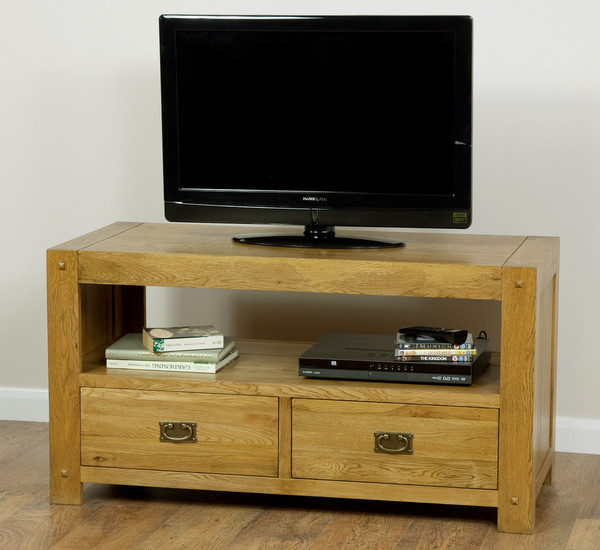 Quercus Solid Oak Widescreen TV plus DVD Cabinet