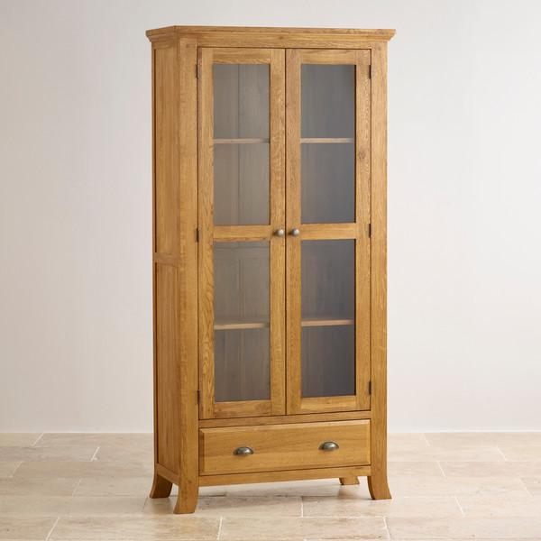 Taunton Rustic Brushed Solid Oak Glazed Display Cabinet
