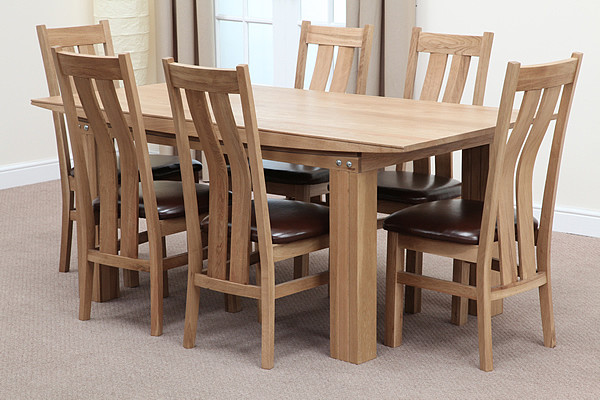 solid oak 6ft x 3ft dining set 6 solid oak and leather dining chairs