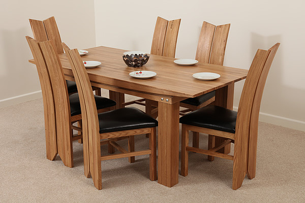 tokyo natural solid oak dining set 6ft table with 6