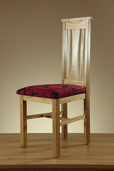Tokyo Solid Oak and Aubergine Patterned Fabric Dining Chair