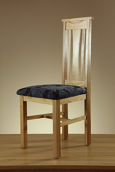 Tokyo Natural Solid Oak and Blue Patterned Fabric Dining Chair