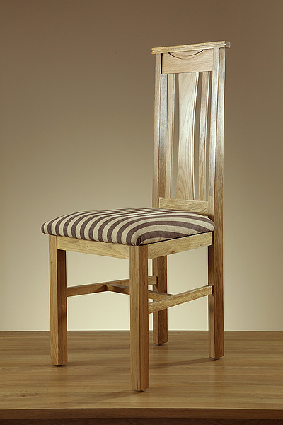 Tokyo Natural Solid Oak and Brown Striped Fabric Dining Chair