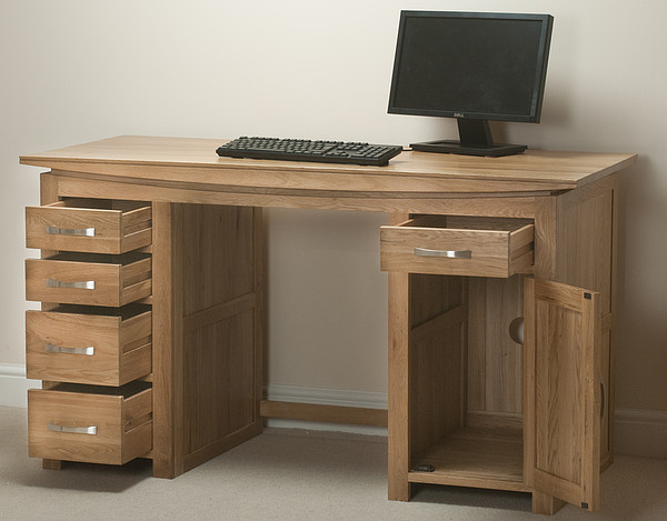 tokyo natural solid oak computer desk home office furniture