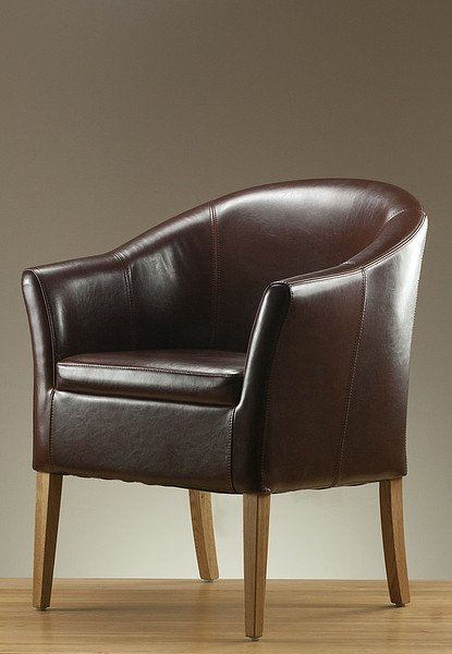 Brown Leather Tub Chair with Solid Oak Legs