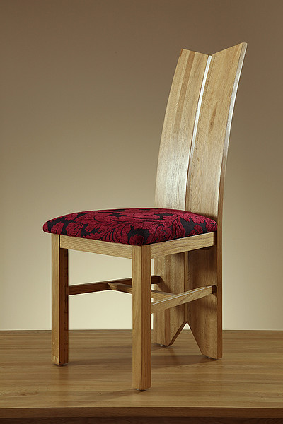 Tulip Natural Solid Oak and Patterned Aubergine Fabric Dining Chair