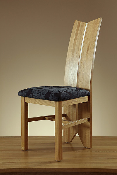 Tulip Natural Solid Oak and Patterned Blue Fabric Dining Chair