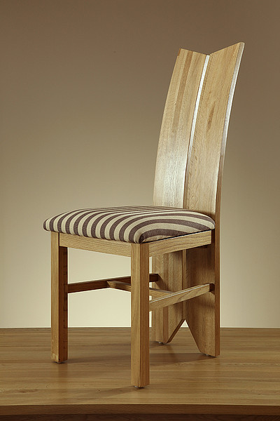 Tulip Natural Solid Oak and Brown Stripe Fabric Dining Chair
