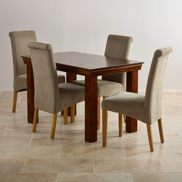 Victoria Solid Hardwood Dining Set 4ft Table with 4 Scroll Back Plain Sage Fabric Chairs