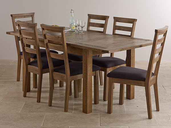 Windsor Brushed Solid Oak Dining Set 4ft 4 Extending Table with 6 Plain Charcoal Fabric Chairs