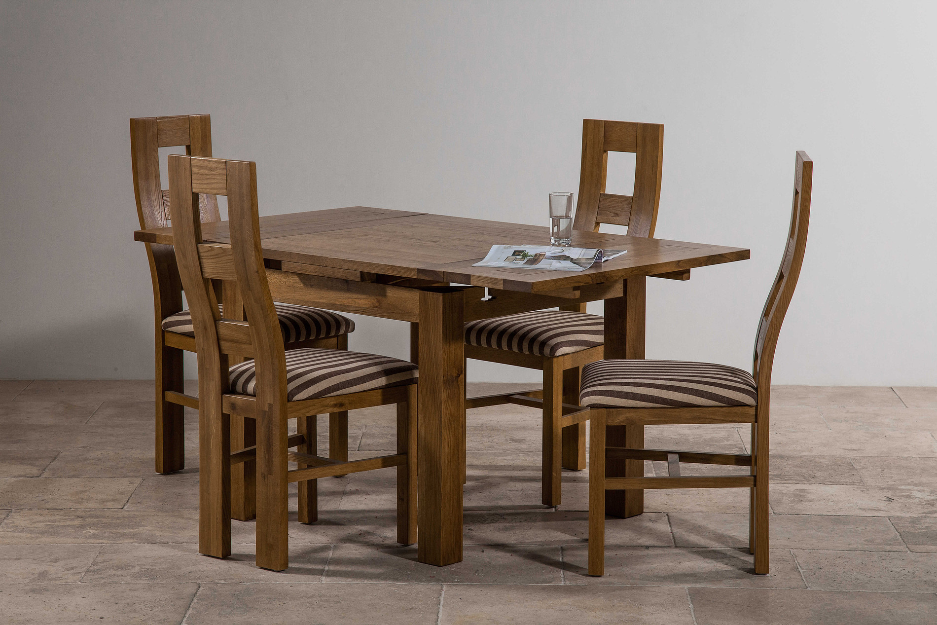 3ft x 3ft Rustic Solid Oak Extending Dining Table Seats  : 3ft x 3ft rustic solid oak extending dining table seats up to 6 people extended 4 wave back rustic solid oak and brown striped fabric dining chair 543d26f1344ab from oakfurnitureland.co.uk size 1900 x 1267 jpeg 569kB