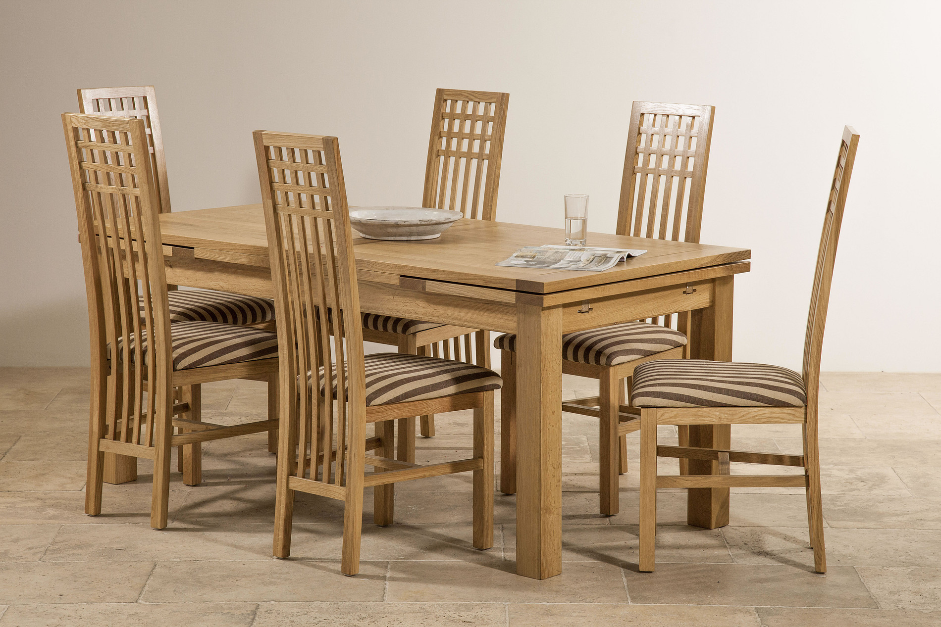 6ft x 3ft natural solid oak extending dining table seats for 12 person dining table sets