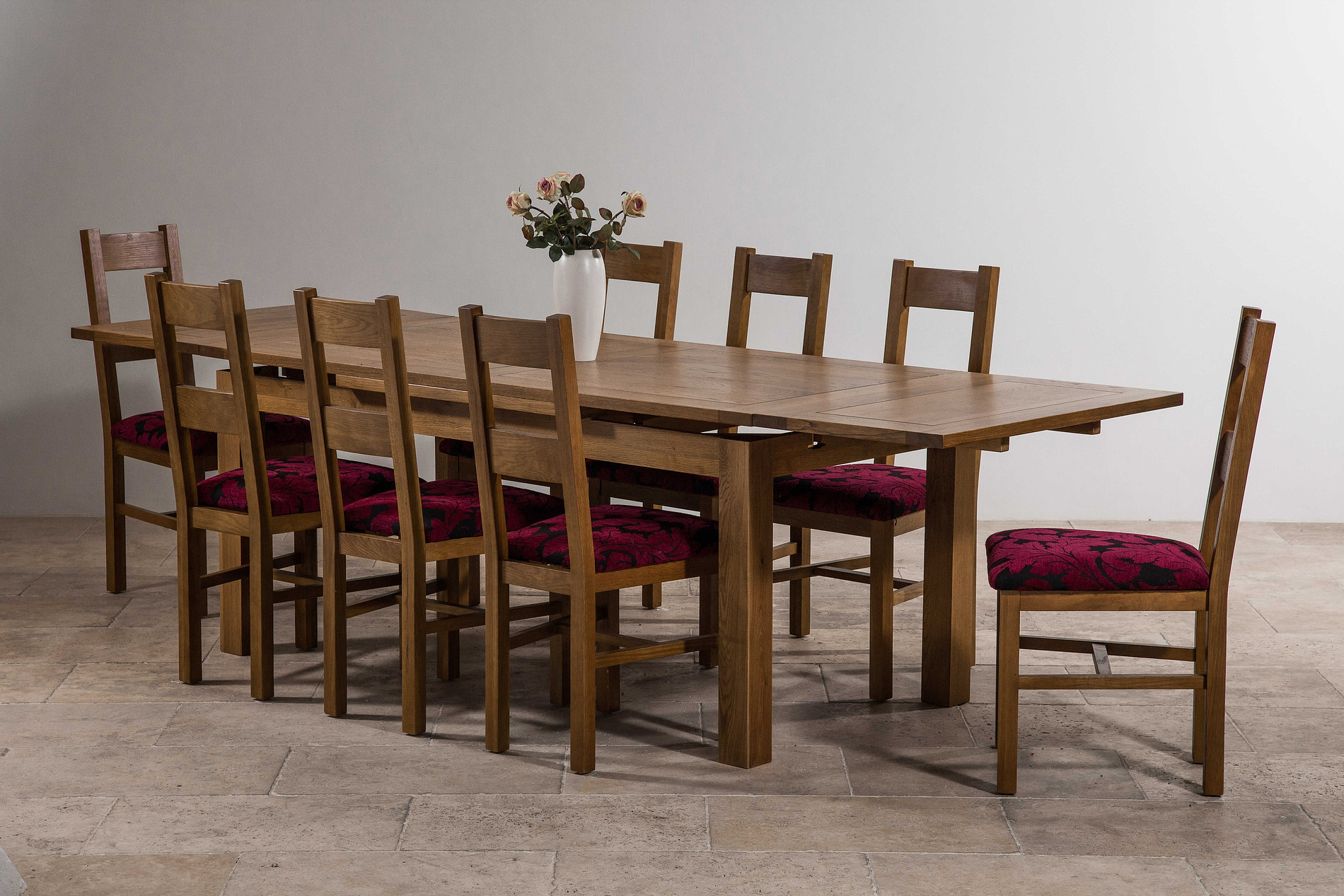 6ft x 3ft rustic solid oak extending dining table seats for Farm table seats 12