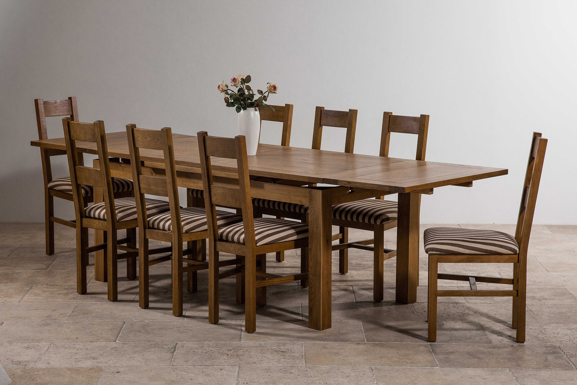 6ft x 3ft rustic solid oak extending dining table seats for 12 person dining table sets