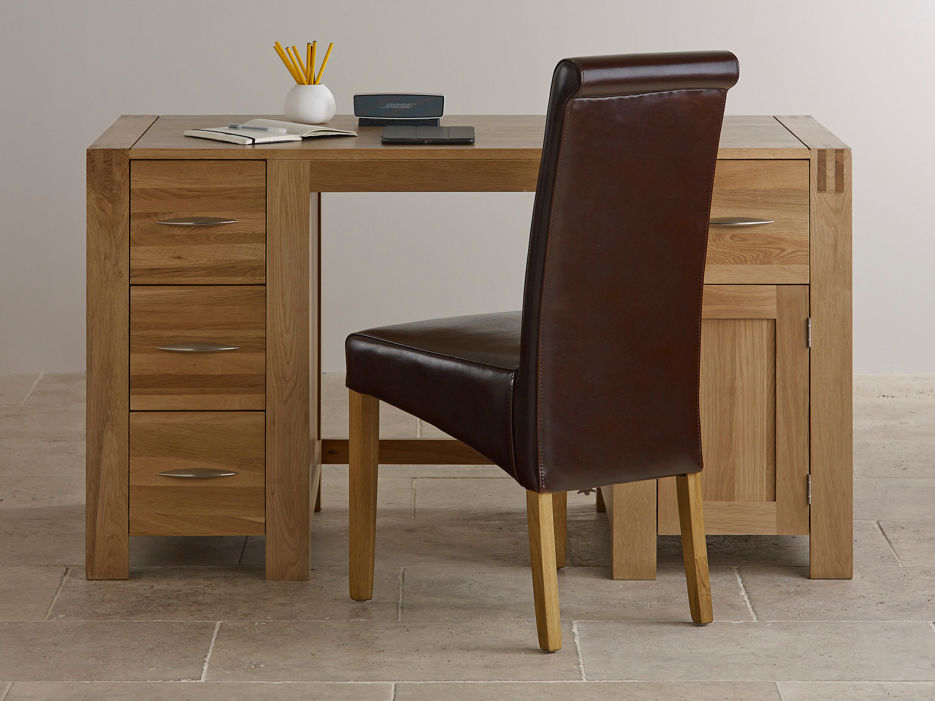 Alto natural solid oak computer desk home office furniture