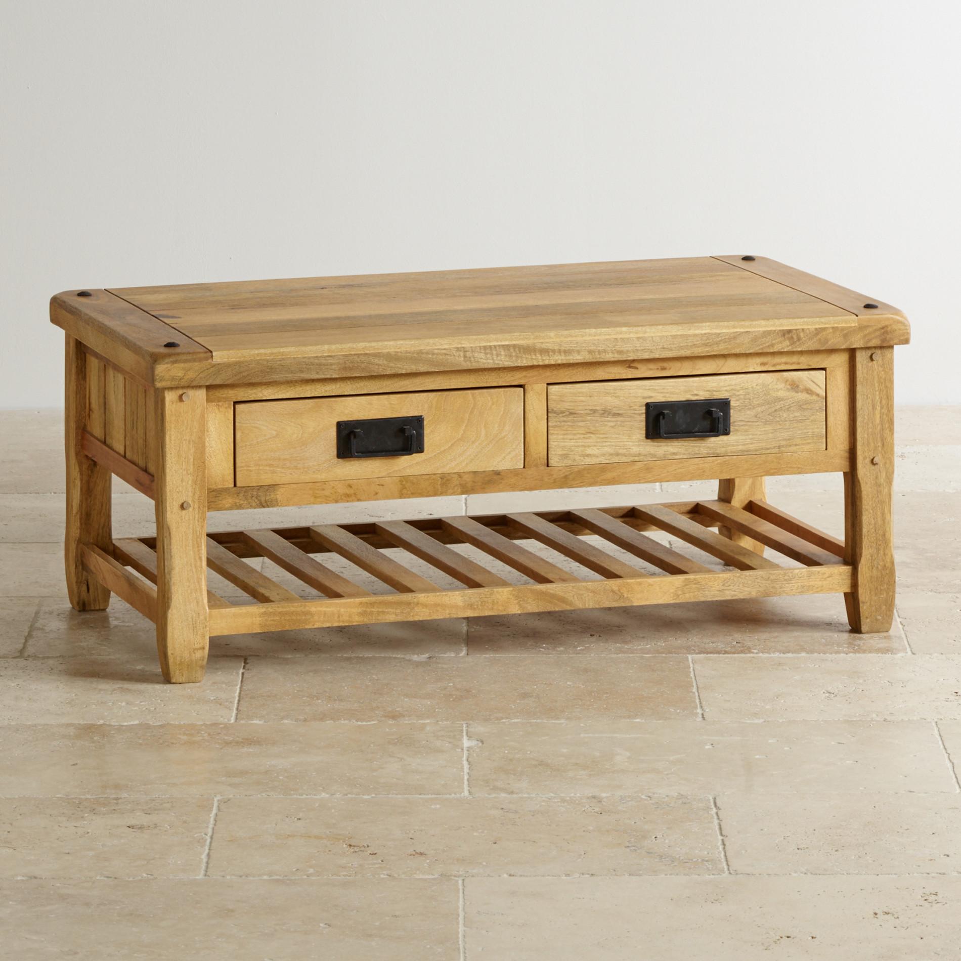 Baku Light Natural Solid Mango 4 Drawer Coffee Table Living Room Furniture