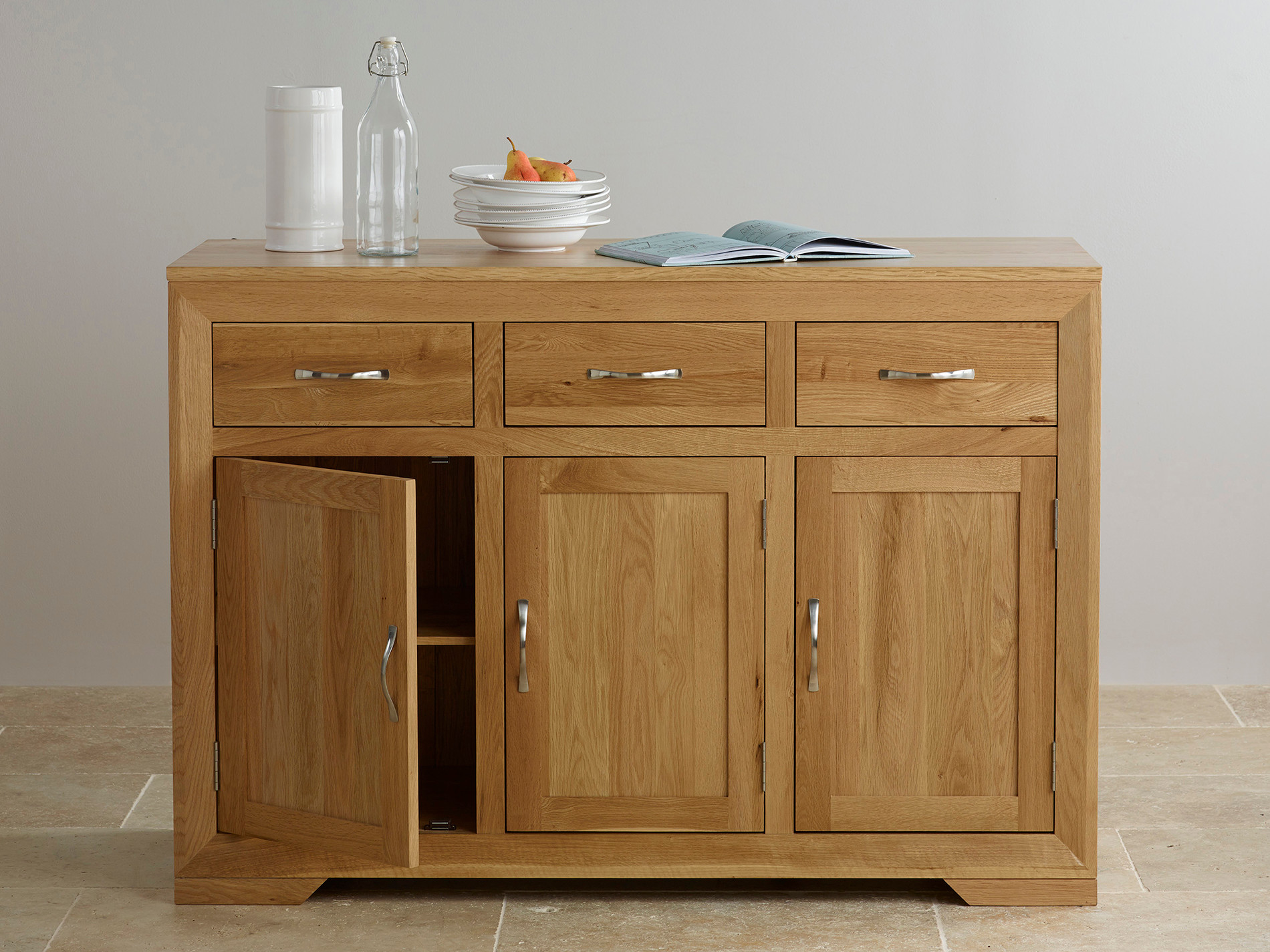 Bevel natural solid oak large sideboard oak furniture land for Oak furniture land