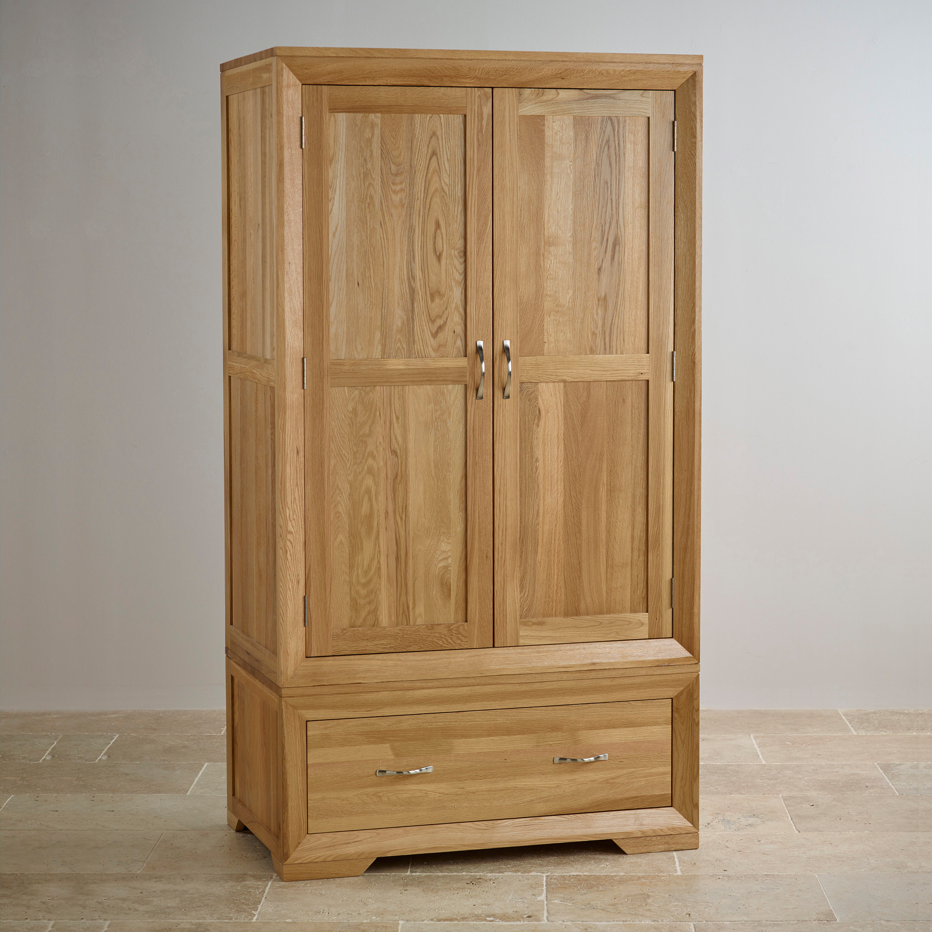 bevel natural solid oak wardrobe oak furniture land. Black Bedroom Furniture Sets. Home Design Ideas