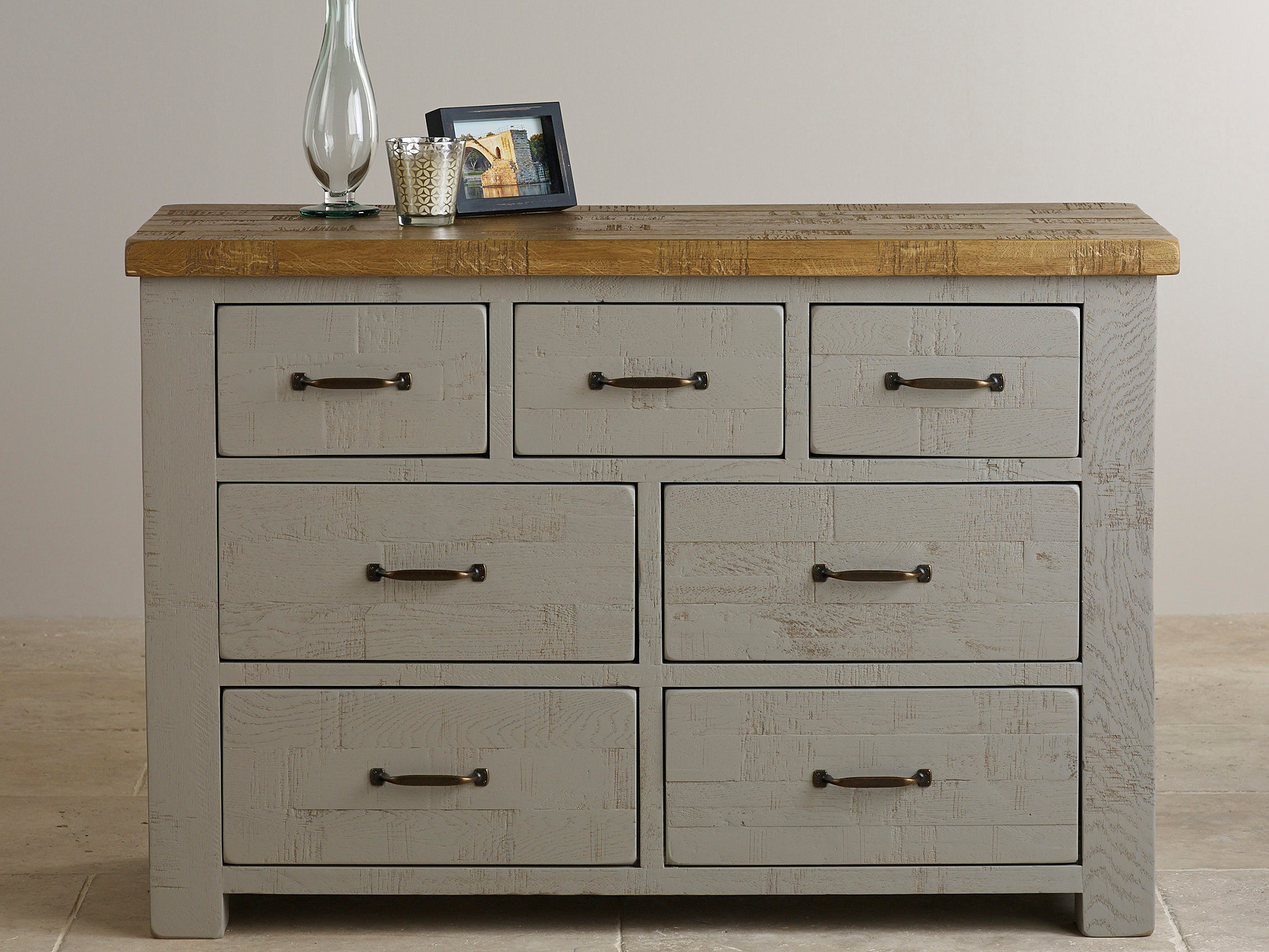 clermont painted rough sawn solid oak chest of drawers. Black Bedroom Furniture Sets. Home Design Ideas