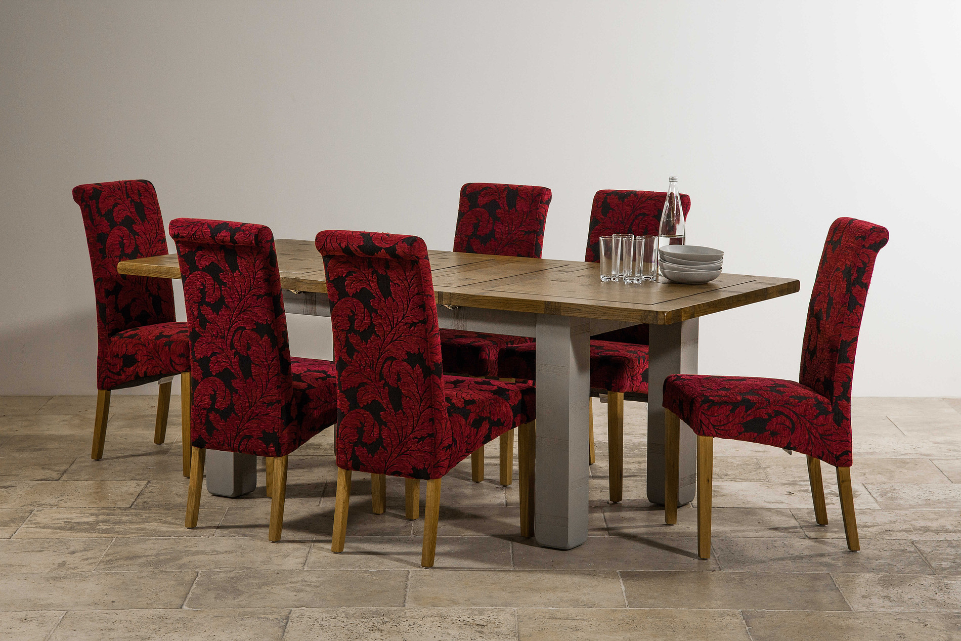 Clermont Painted Rough Sawn Solid Oak 5ft 10quot x 3ft Large  : clermont painted rough sawn solid oak 5ft 10 x 3ft large extending dining table 6 scroll back patterned aubergine fabric chair with solid oak legs 546b6d5ec299e from www.oakfurnitureland.co.uk size 1900 x 1267 jpeg 674kB