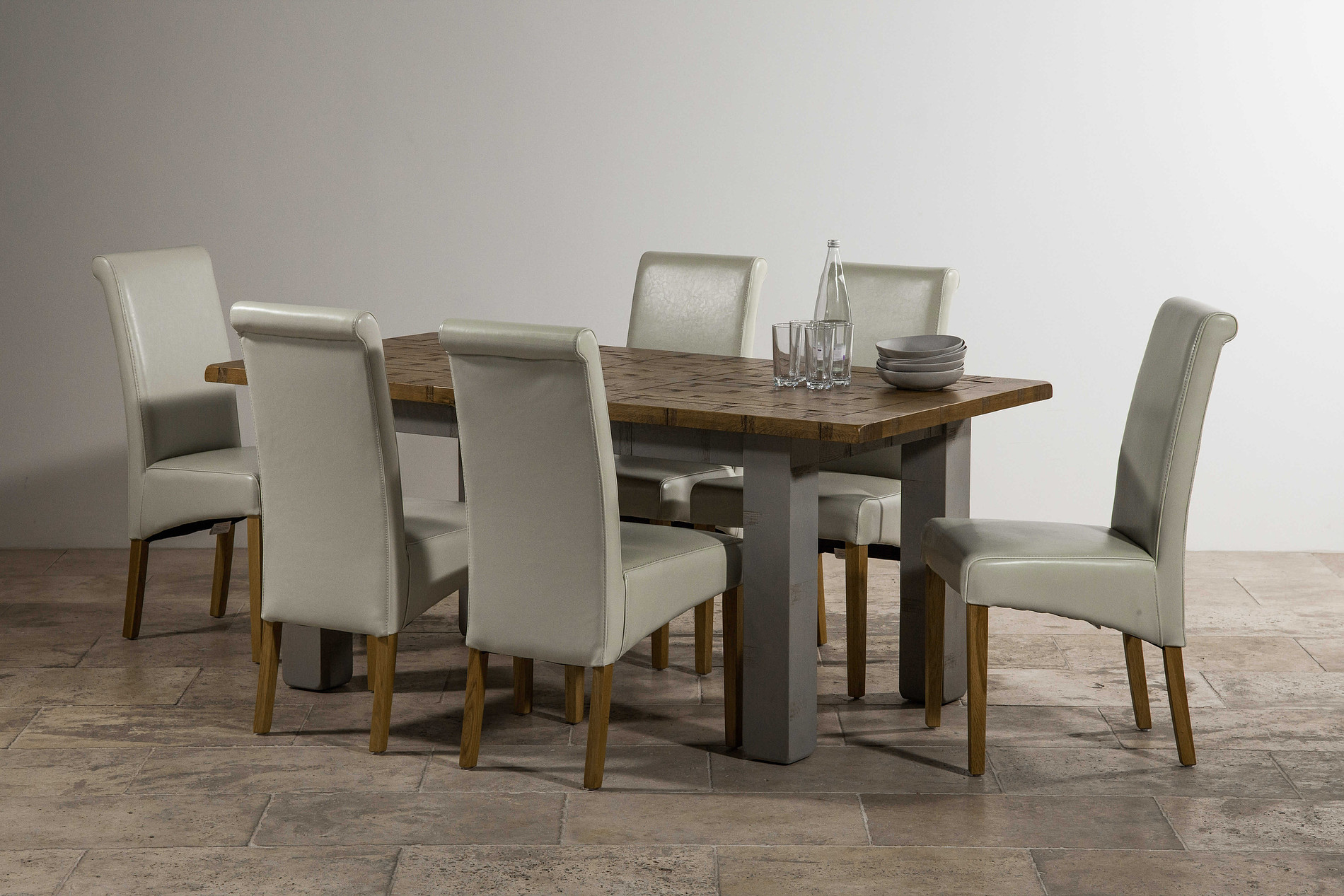 Clermont Painted Rough Sawn Solid Oak 5ft x 3ft Small  : clermont painted rough sawn solid oak 5ft x 3ft small extending dining table 6 scroll back cream leather chair with solid oak legs 546dbfd33dbae from oakfurnitureland.co.uk size 1900 x 1267 jpeg 534kB