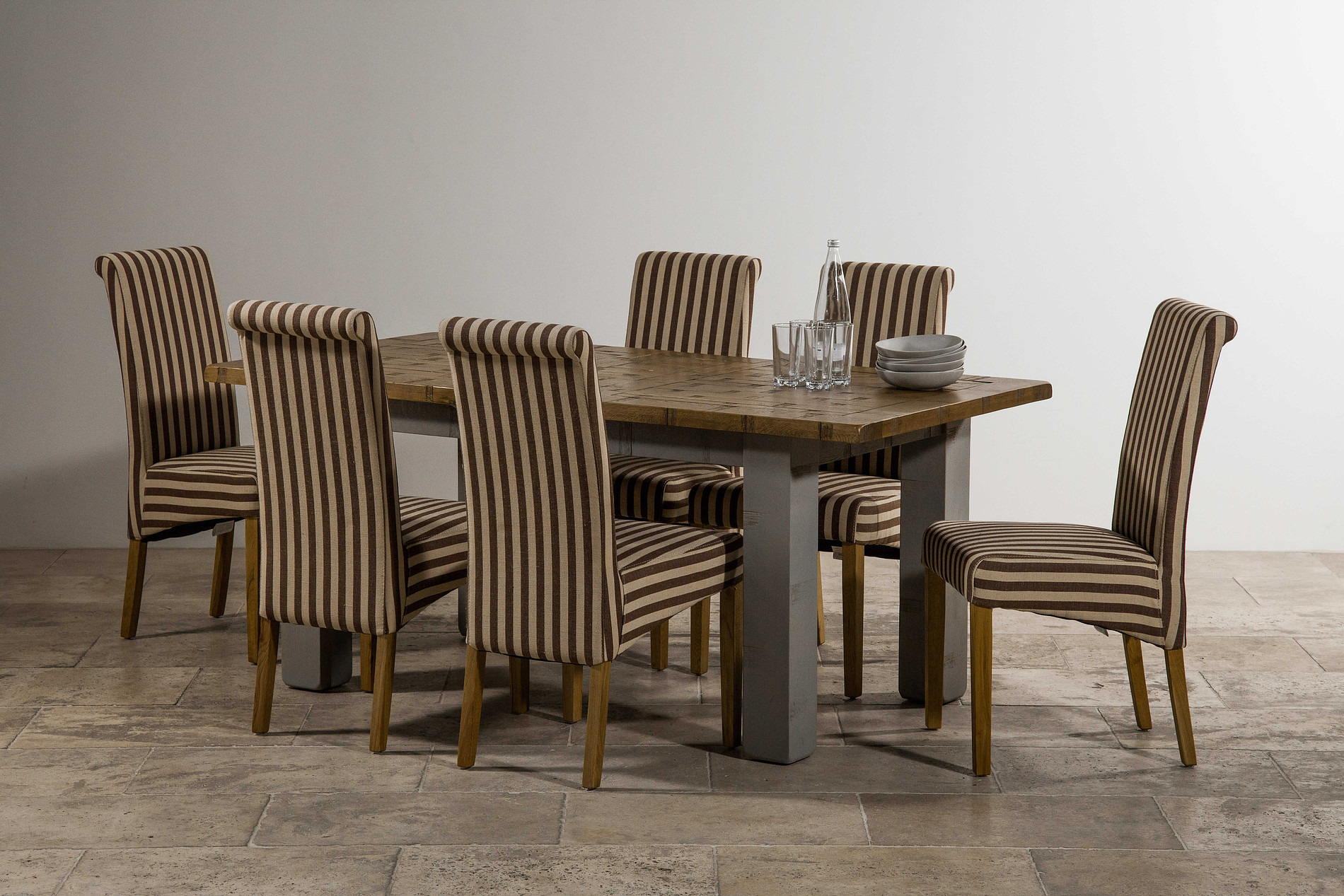 Clermont Painted Rough Sawn Solid Oak 5ft x 3ft Small  : clermont painted rough sawn solid oak 5ft x 3ft small extending dining table 6 scroll back striped brown fabric chair with solid oak legs 546dc974d4cce from oakfurnitureland.co.uk size 1900 x 1267 jpeg 661kB