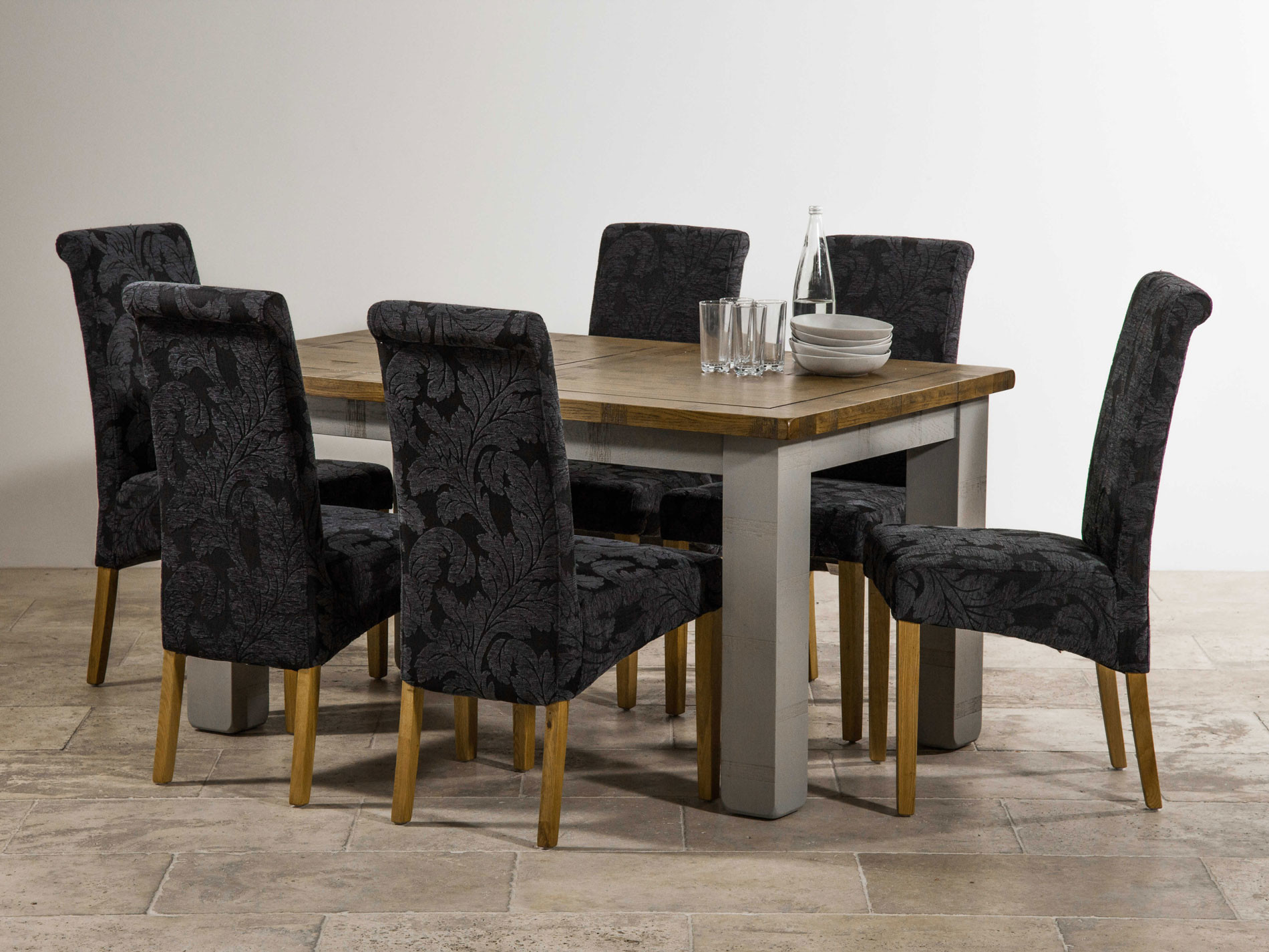 Navy Blue Dining Table: Clermont Painted Rough Sawn Solid Oak Dining Set