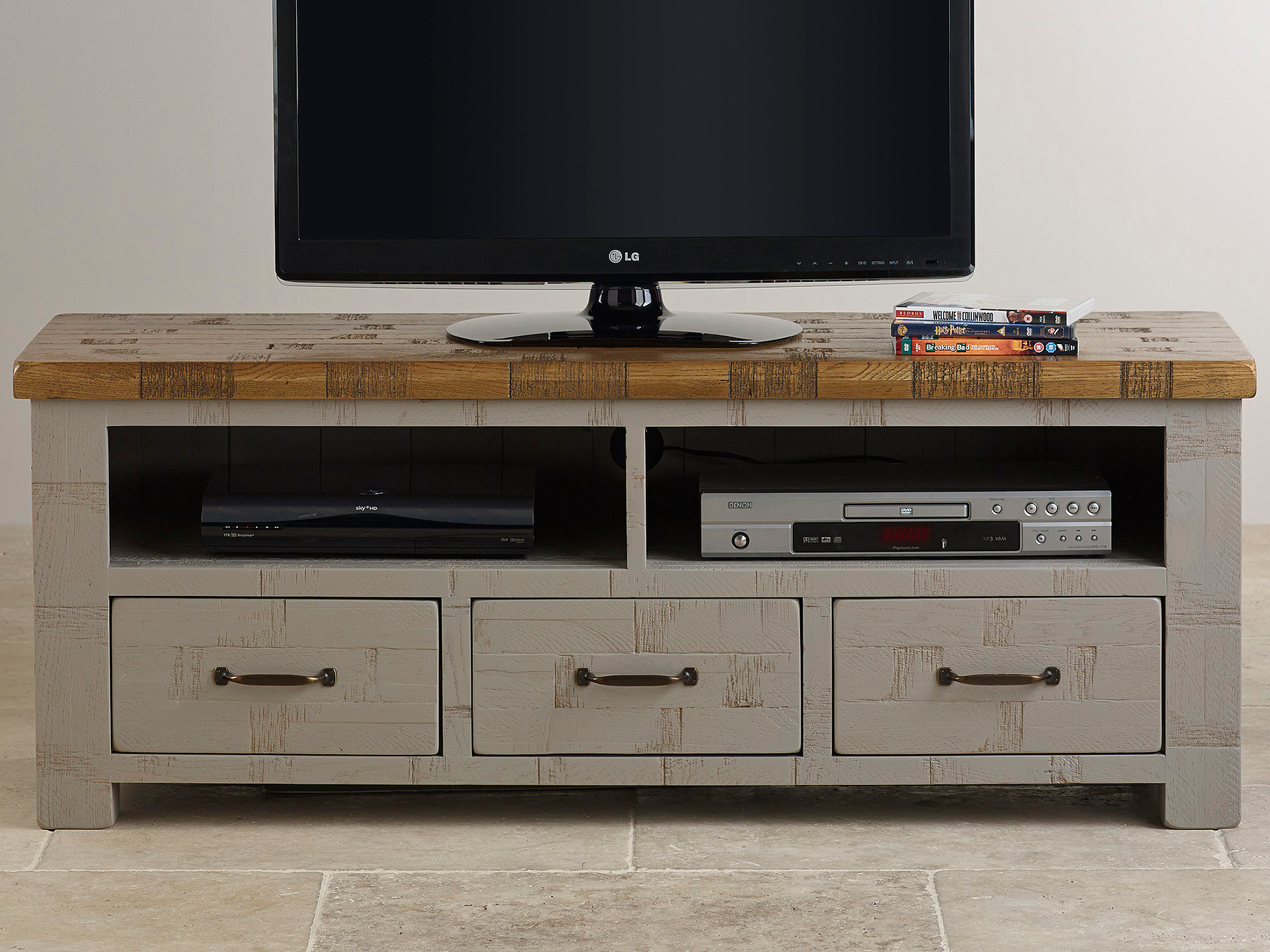 Clermont painted rough sawn solid oak wide tv cabinet for Kitchen cabinets 50cm wide