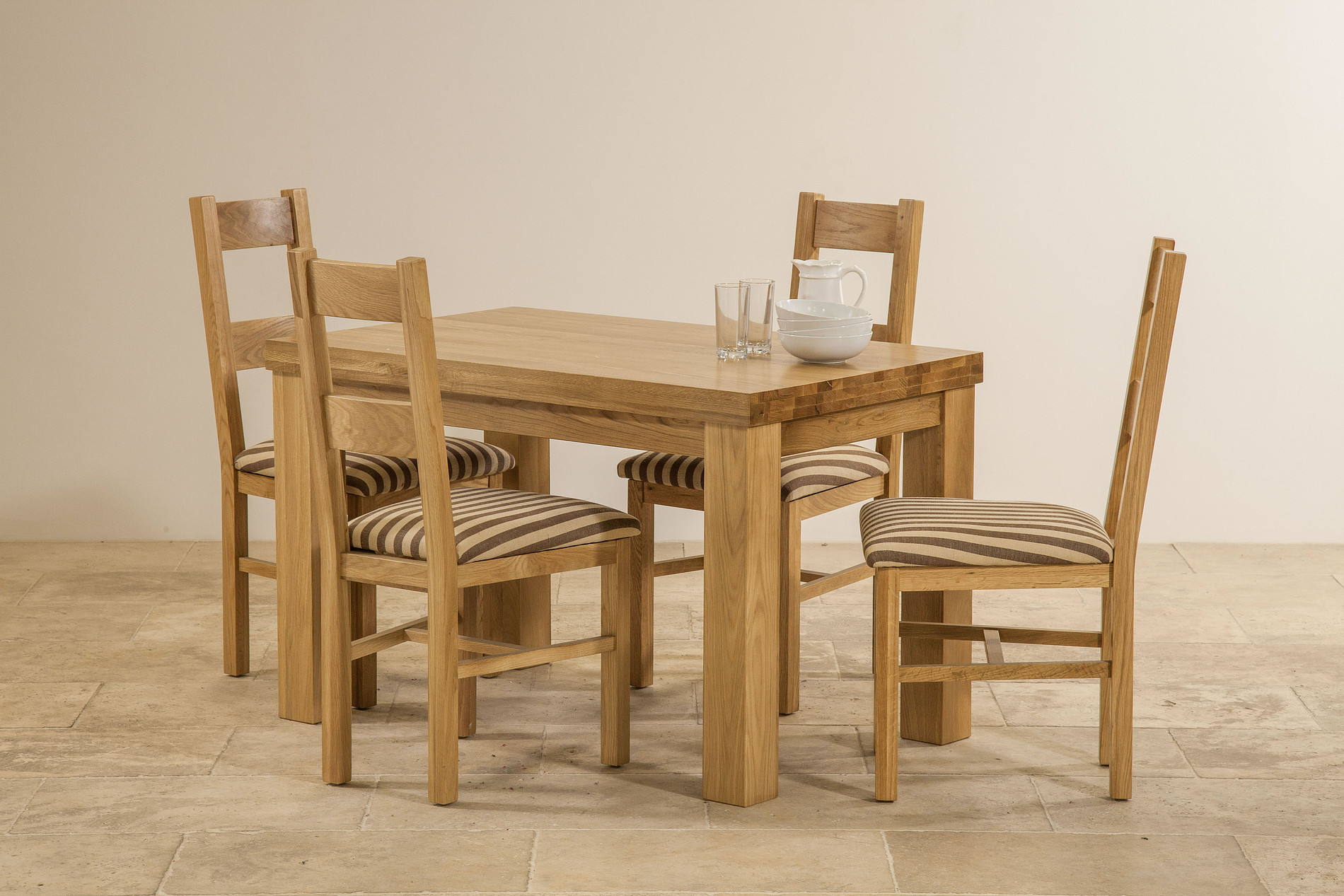 "Contemporary Chunky 4ft x 2ft 6"" Natural Solid Oak Dining Table 4 Farm"