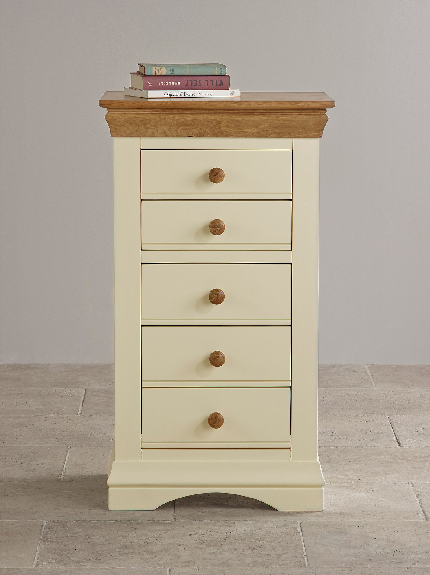 country cottage natural oak and painted 5 drawer chest. Black Bedroom Furniture Sets. Home Design Ideas