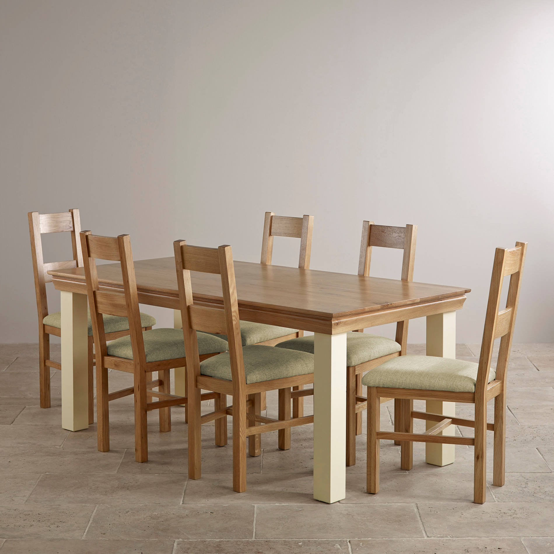 Country Cottage Natural Oak And Painted Dining Set 6ft
