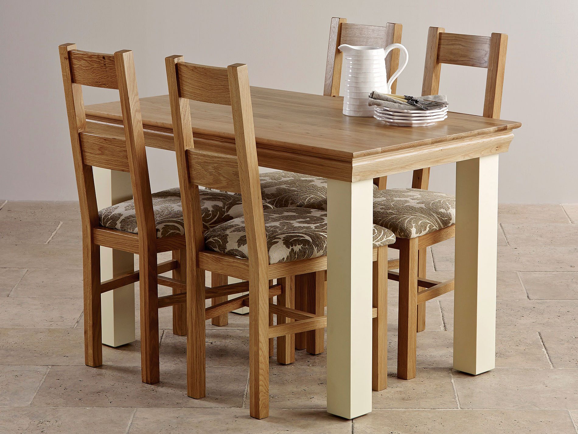 Country Cottage Painted 4ft Dining Table + 4 Natural Solid ...