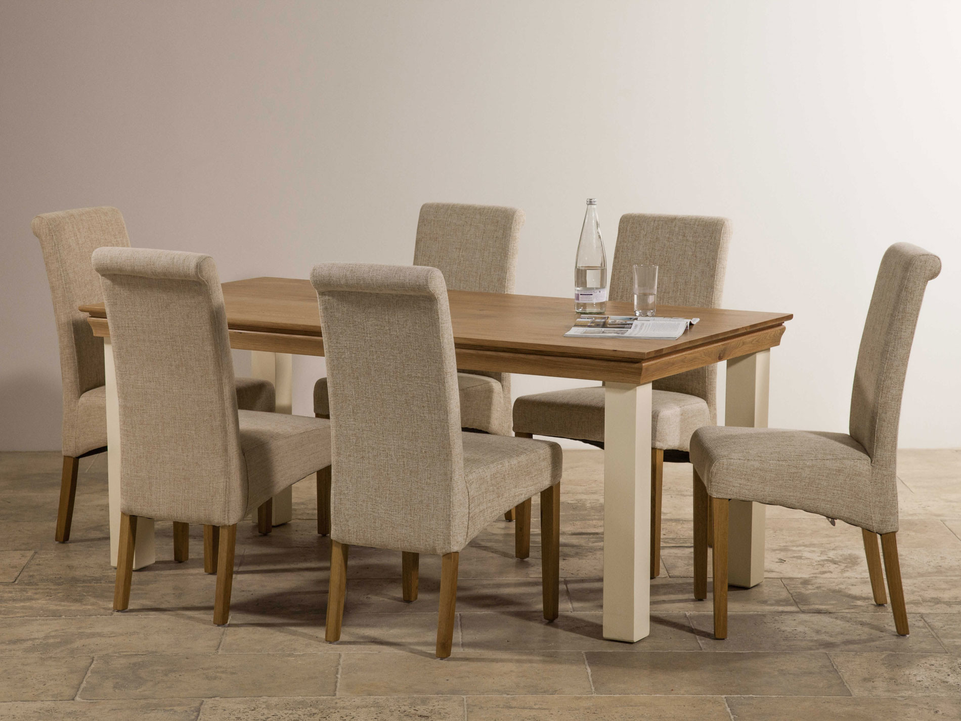 Country cottage natural oak and painted dining set 6ft table with 6 beige chairs - Natural oak dining table and chairs ...