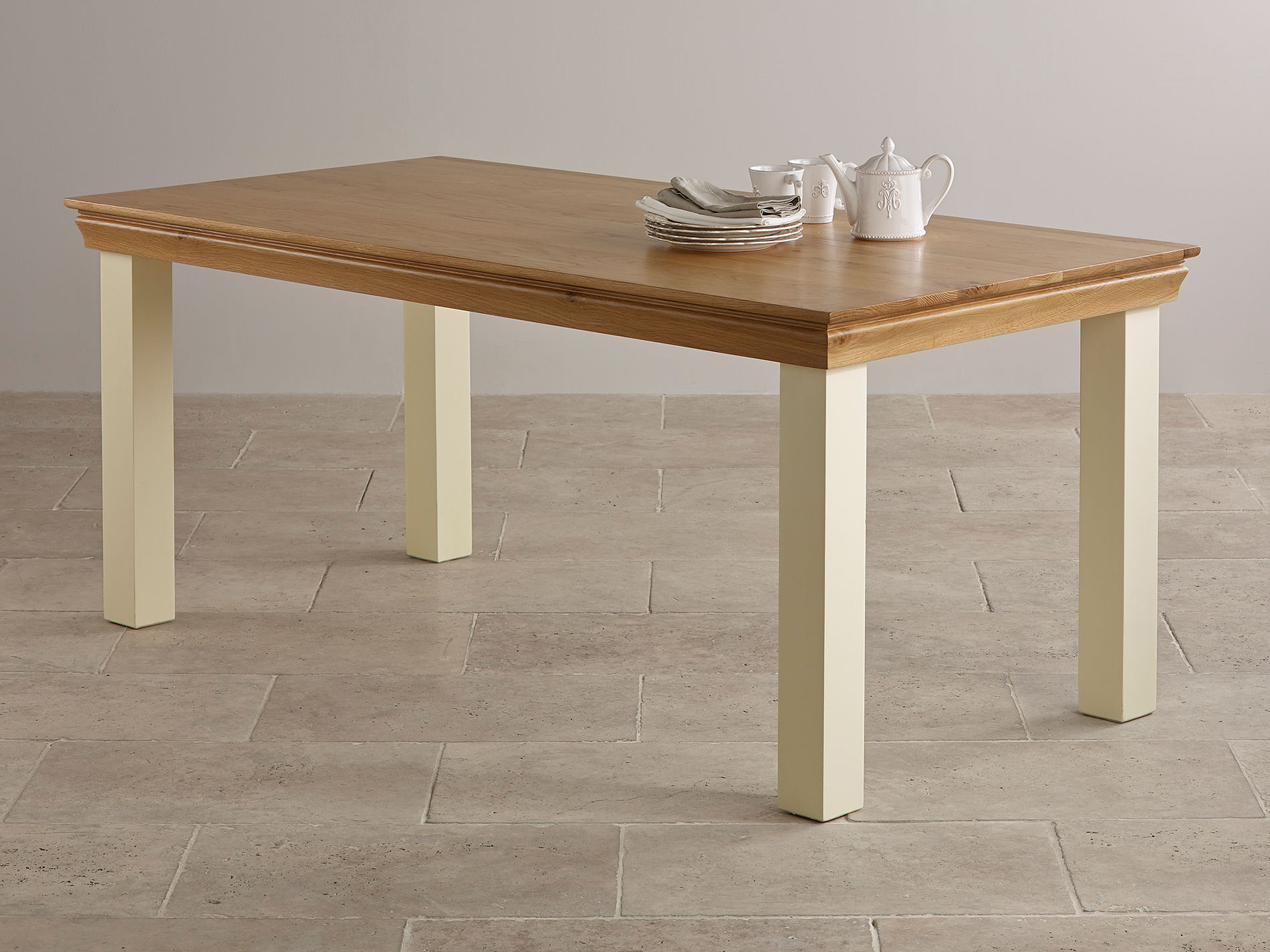 country cottage painted 6ft dining table 6 natural solid oak and