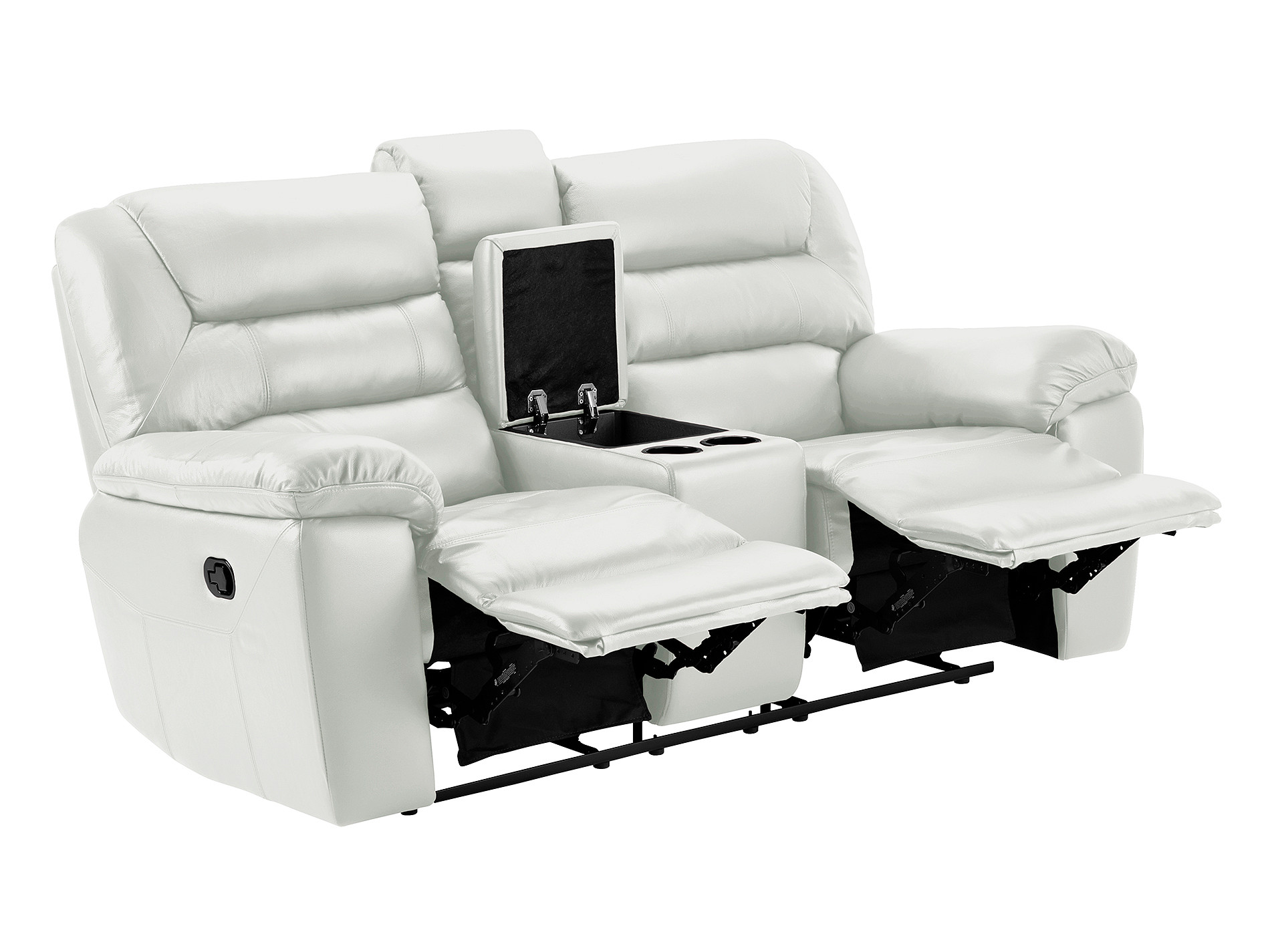 devon small electric reclining sofa with centre table white faux