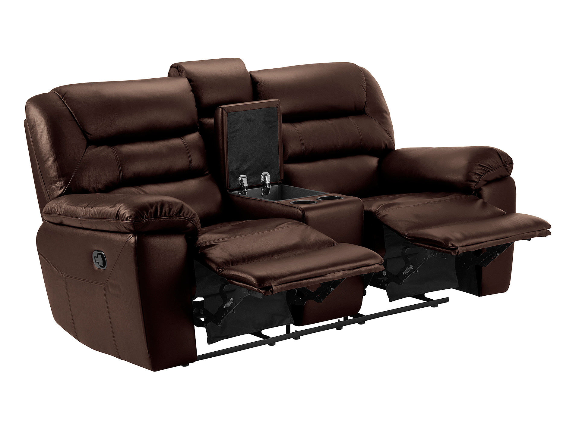 Devon Small Sofa With Manual Recliners 2 Tone Brown Leather