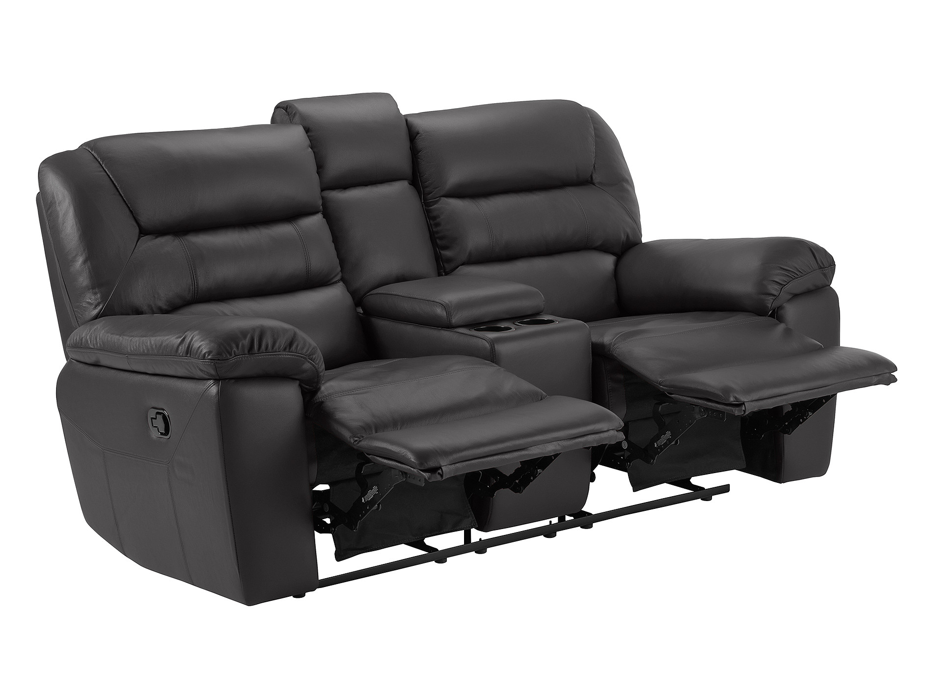 Devon Small Sofa With Manual Recliners Brown Leather