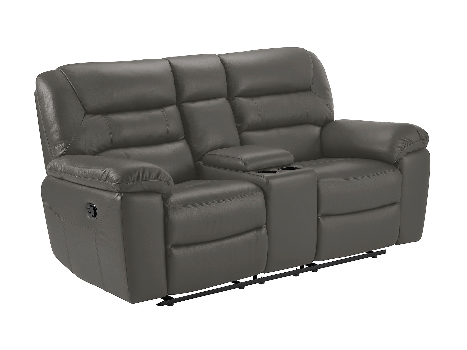 Devon Small Sofa With Manual Recliners Grey Faux Leather
