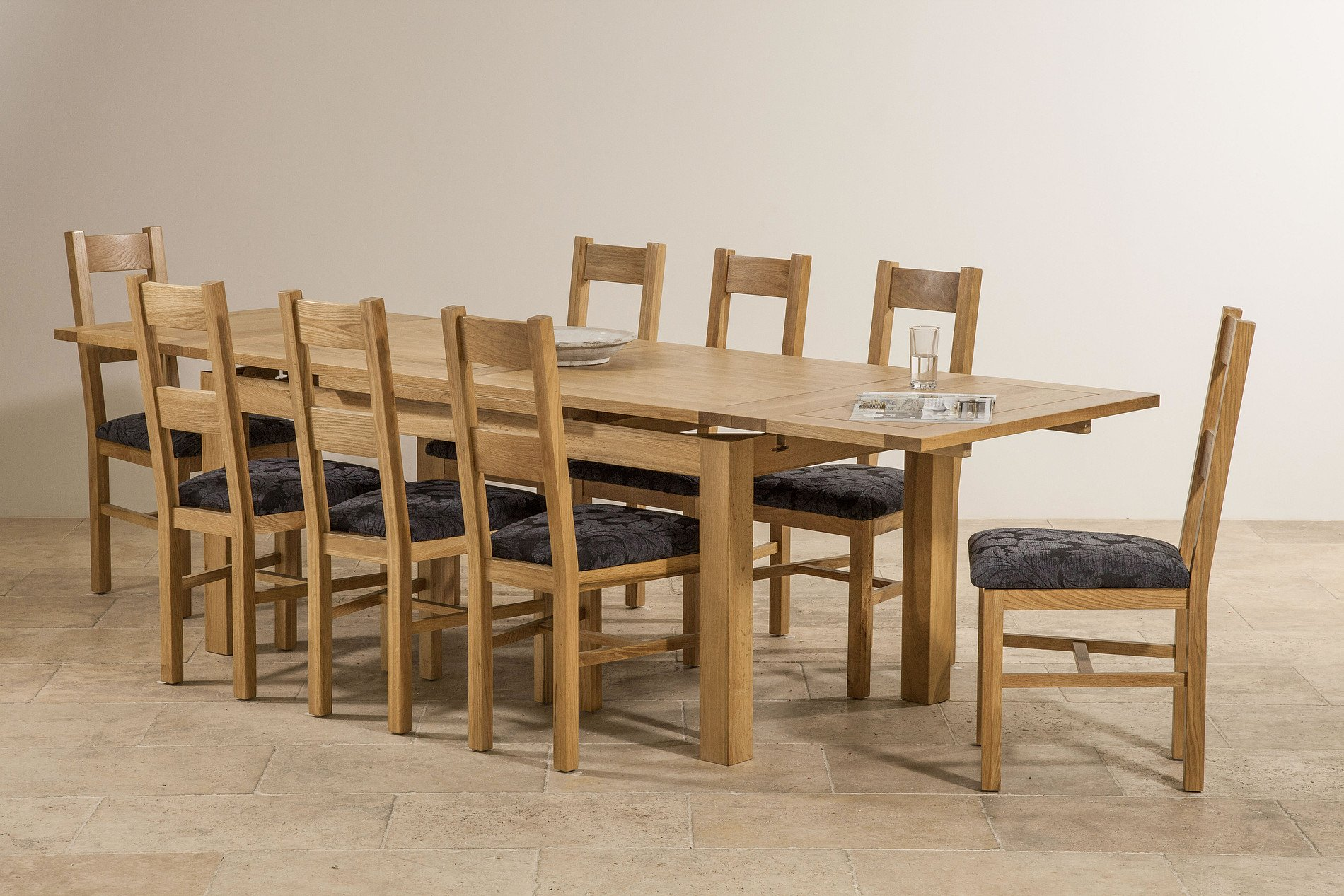 Dorset 6ft x 3ft natural solid oak extending dining table for 12 people dining table