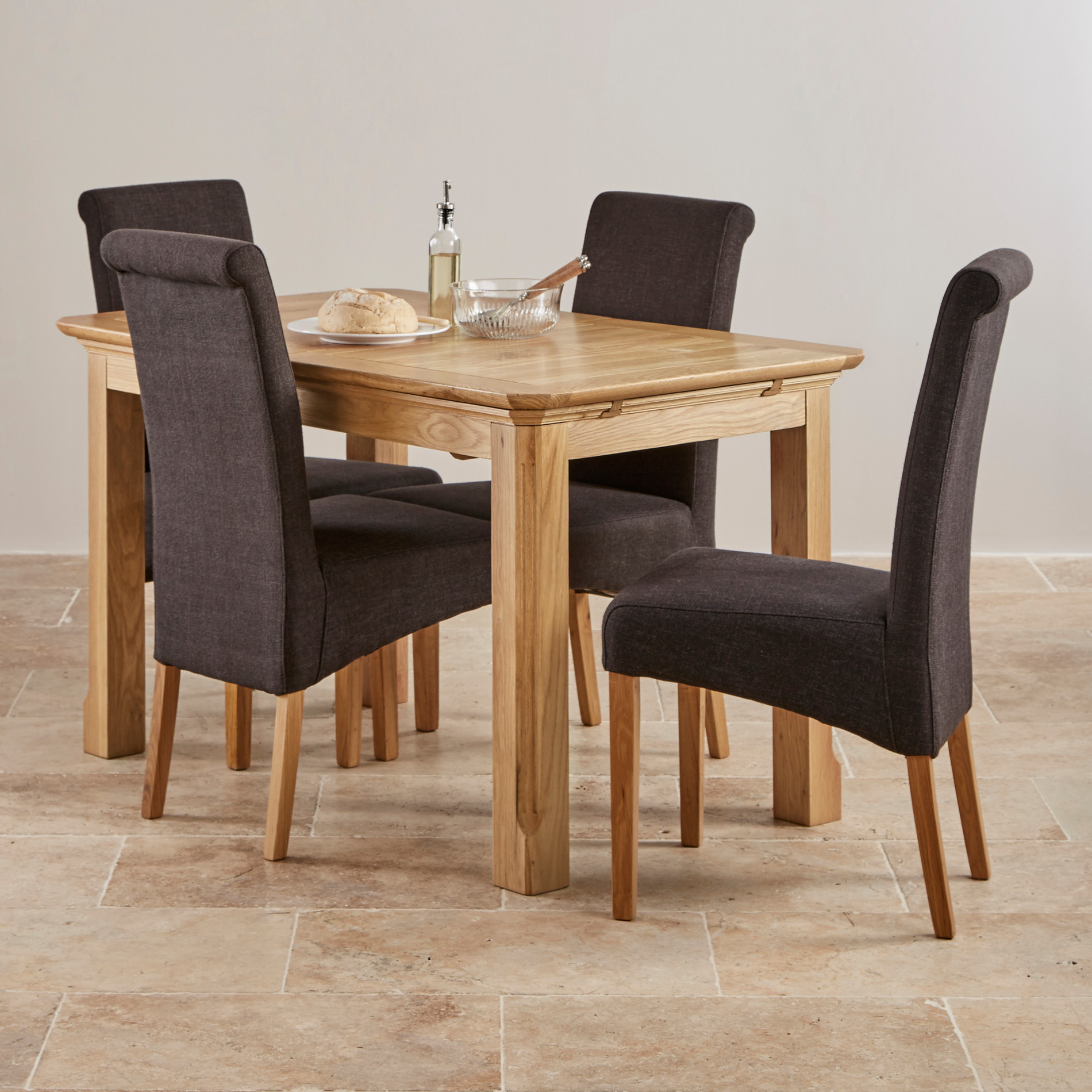 Edinburgh Extending Dining Set In Oak Dining Table 6 Chairs: Edinburgh Natural Solid Oak Dining Set