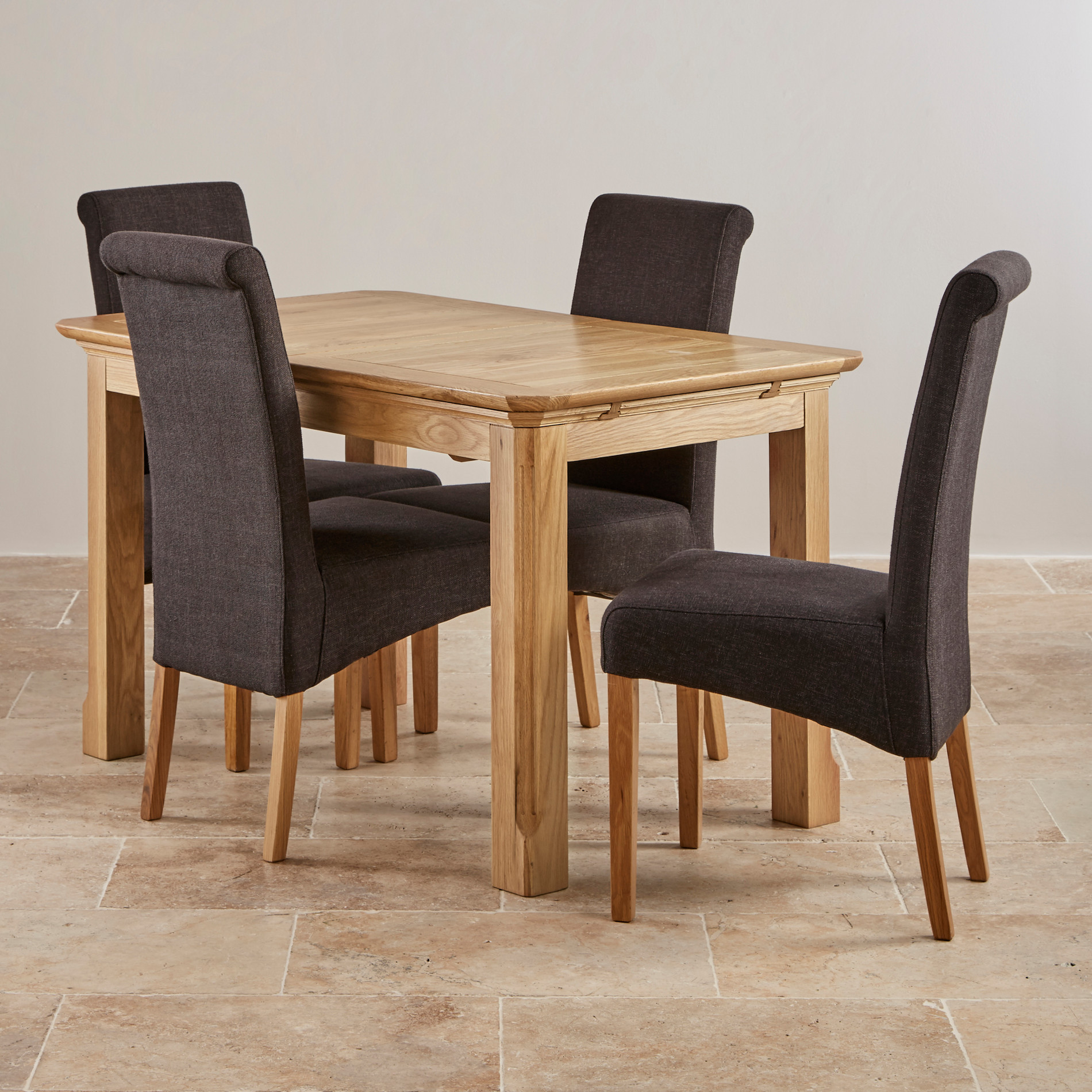 edinburgh natural solid oak dining set 4ft extending