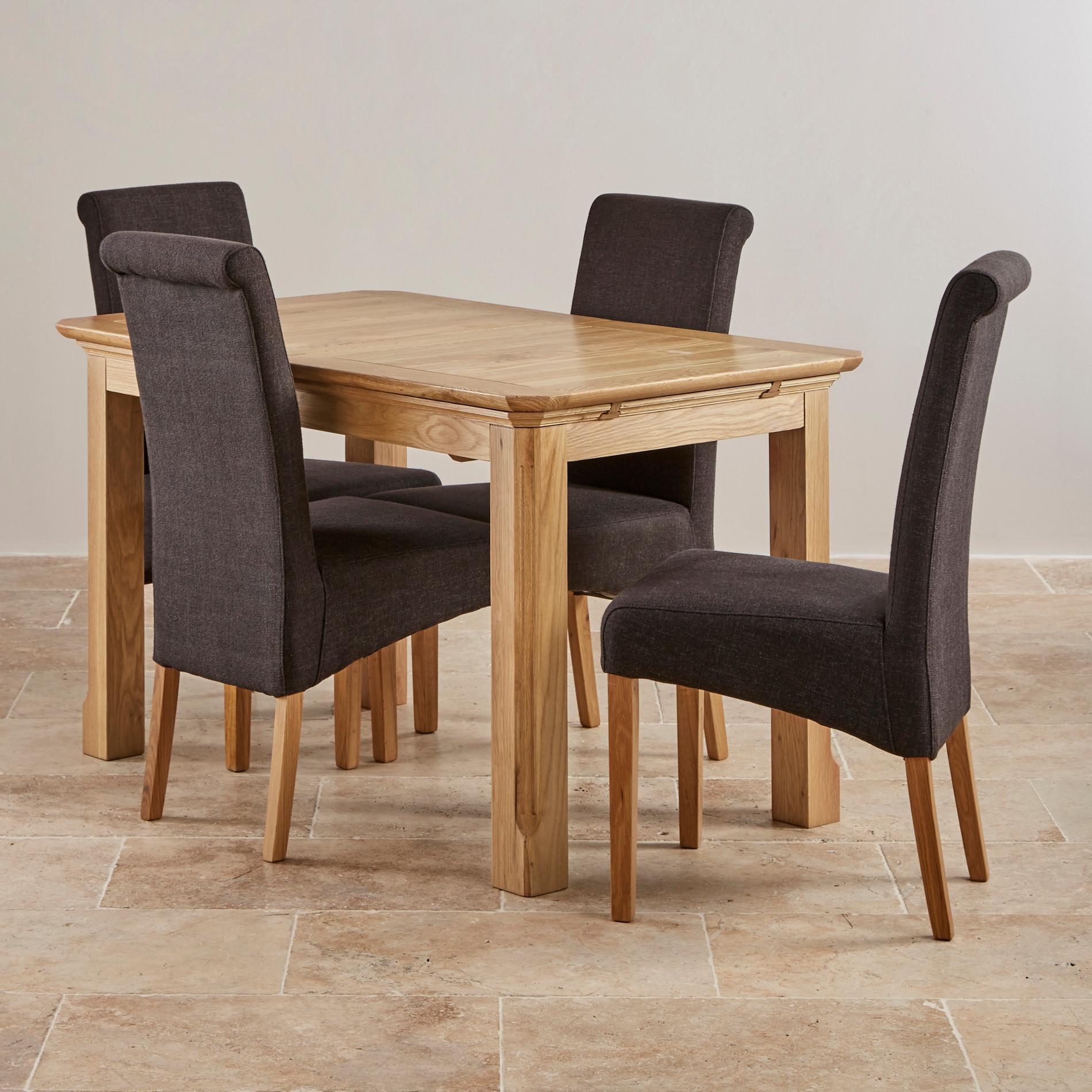 Edinburgh Natural Solid Oak Dining Set 4ft Extending