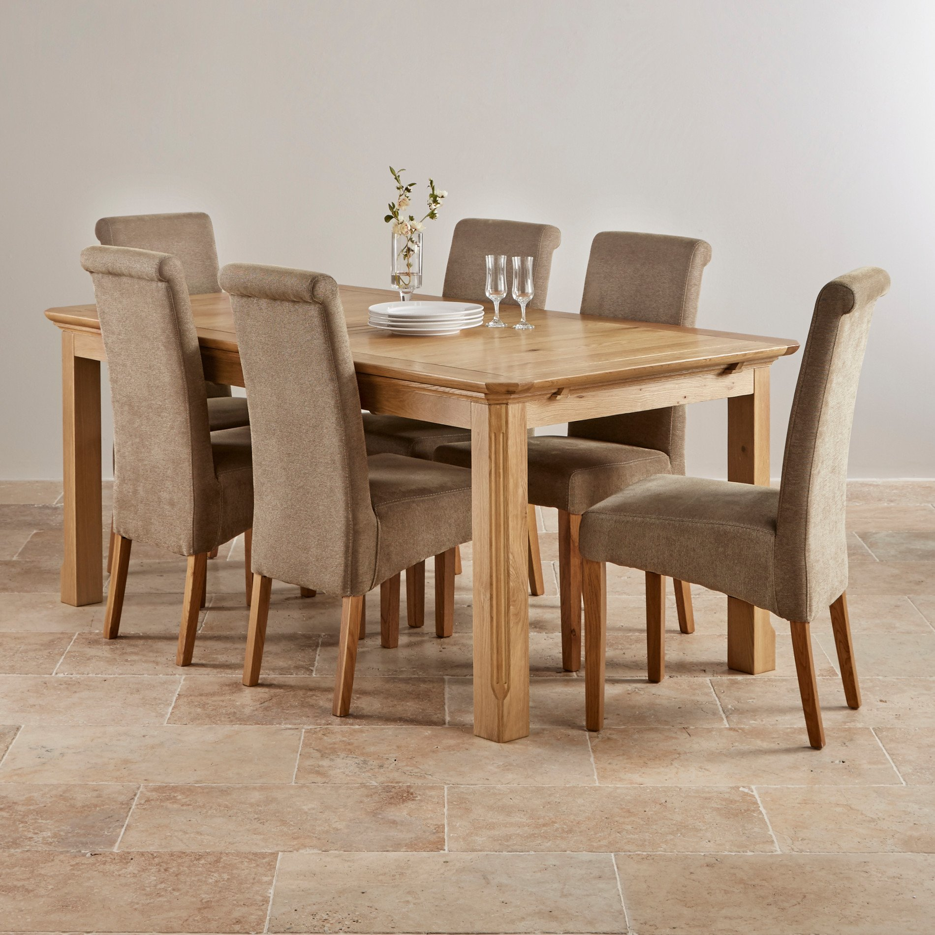 Edinburgh Natural Solid Oak Dining Set 6ft Extending Table With 6 Scroll Back Plain Sage