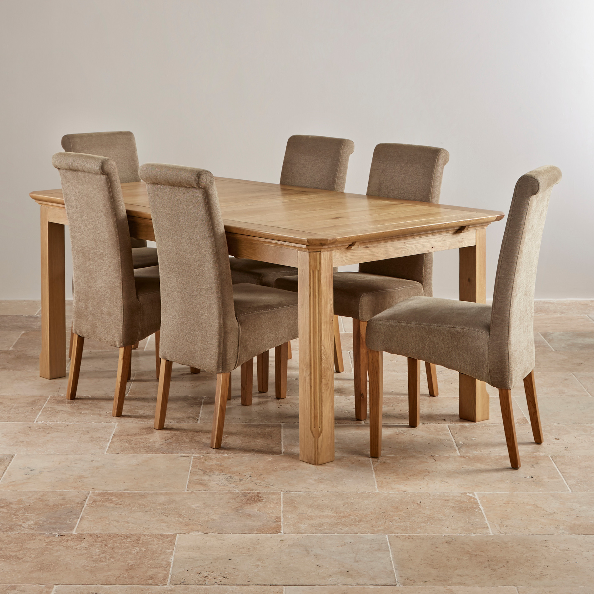 Edinburgh natural solid oak dining set 6ft extending for Six chair dining table set