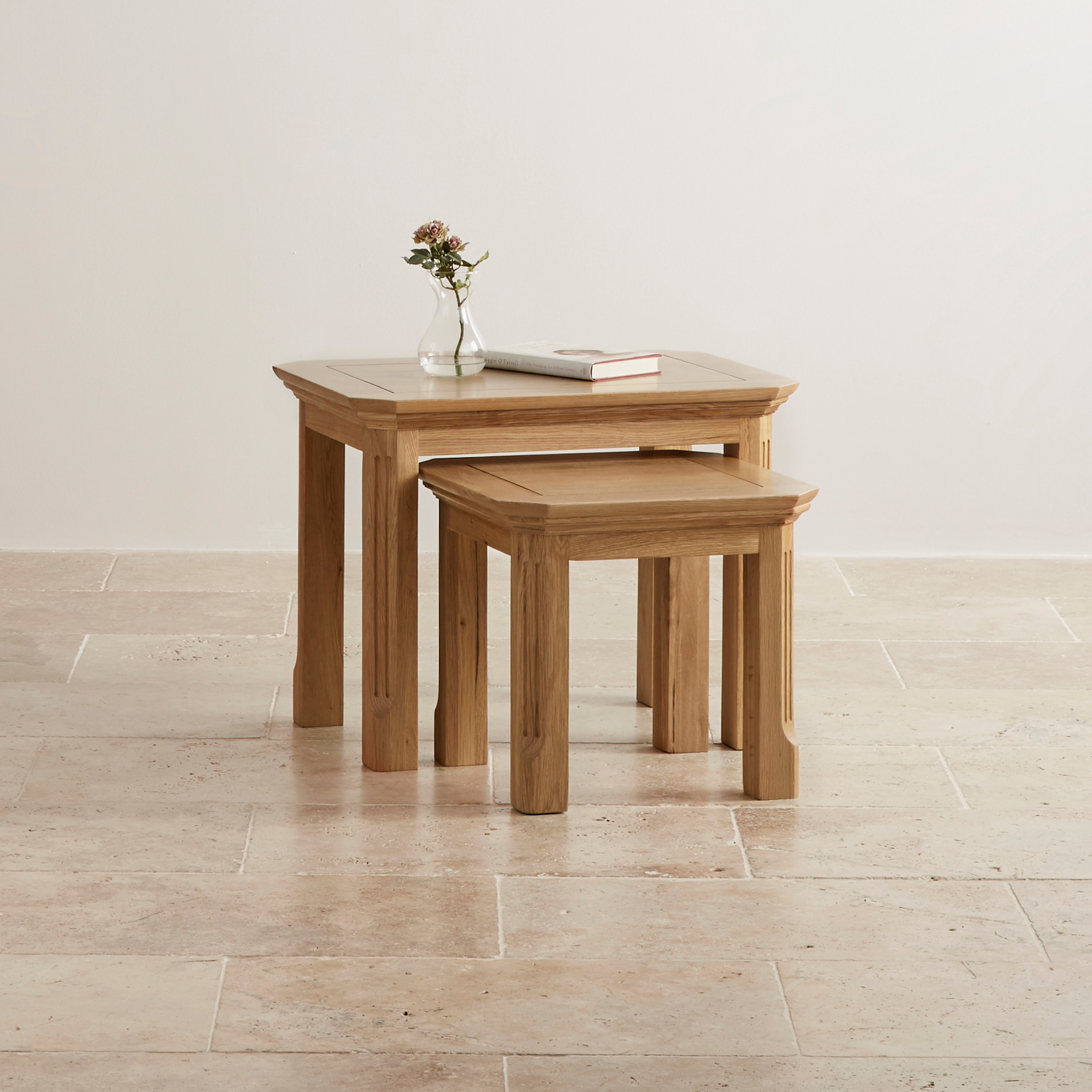edinburgh natural solid oak nest of 2 tables. Black Bedroom Furniture Sets. Home Design Ideas