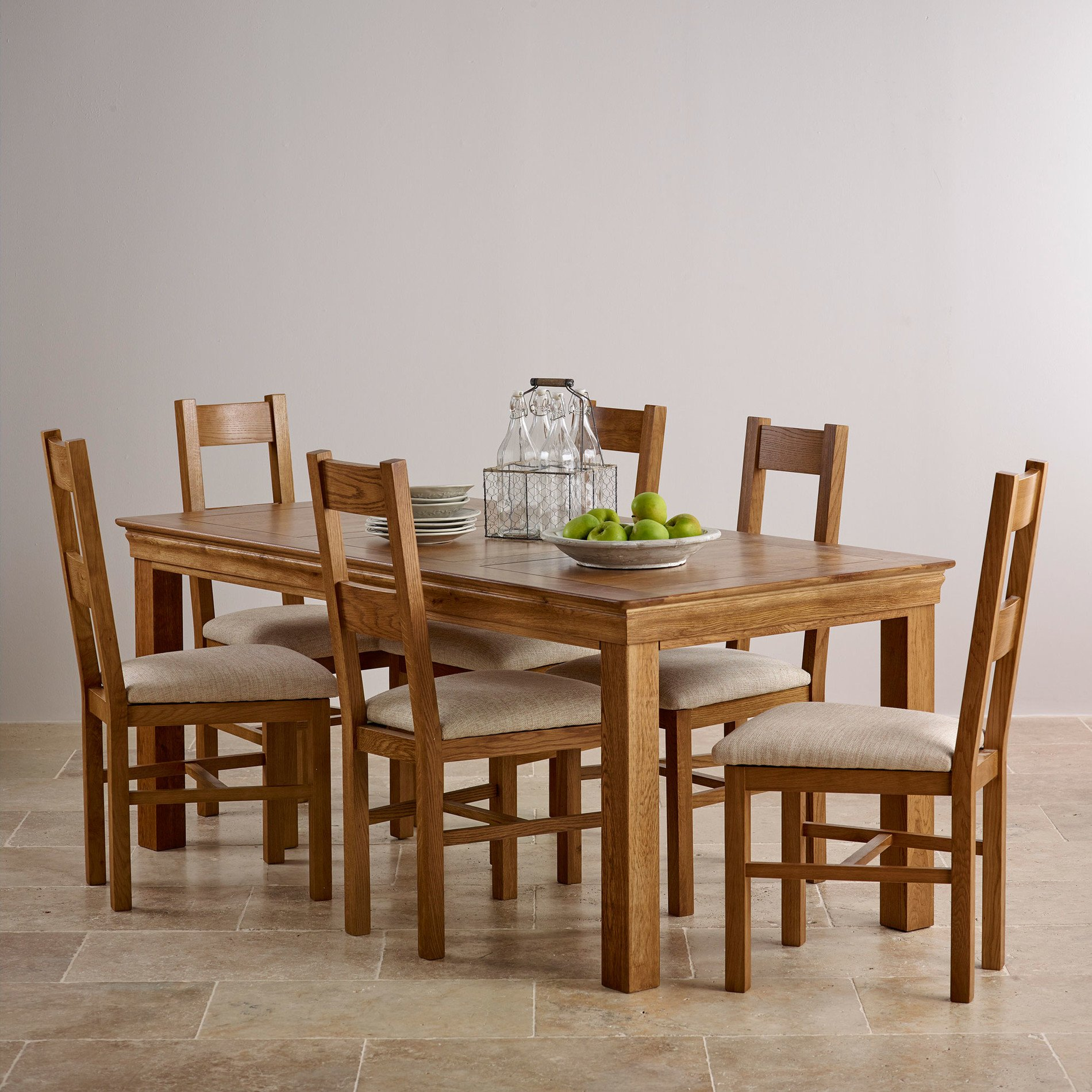 French Farmhouse Rustic Solid Oak Dining Set 6ft Table