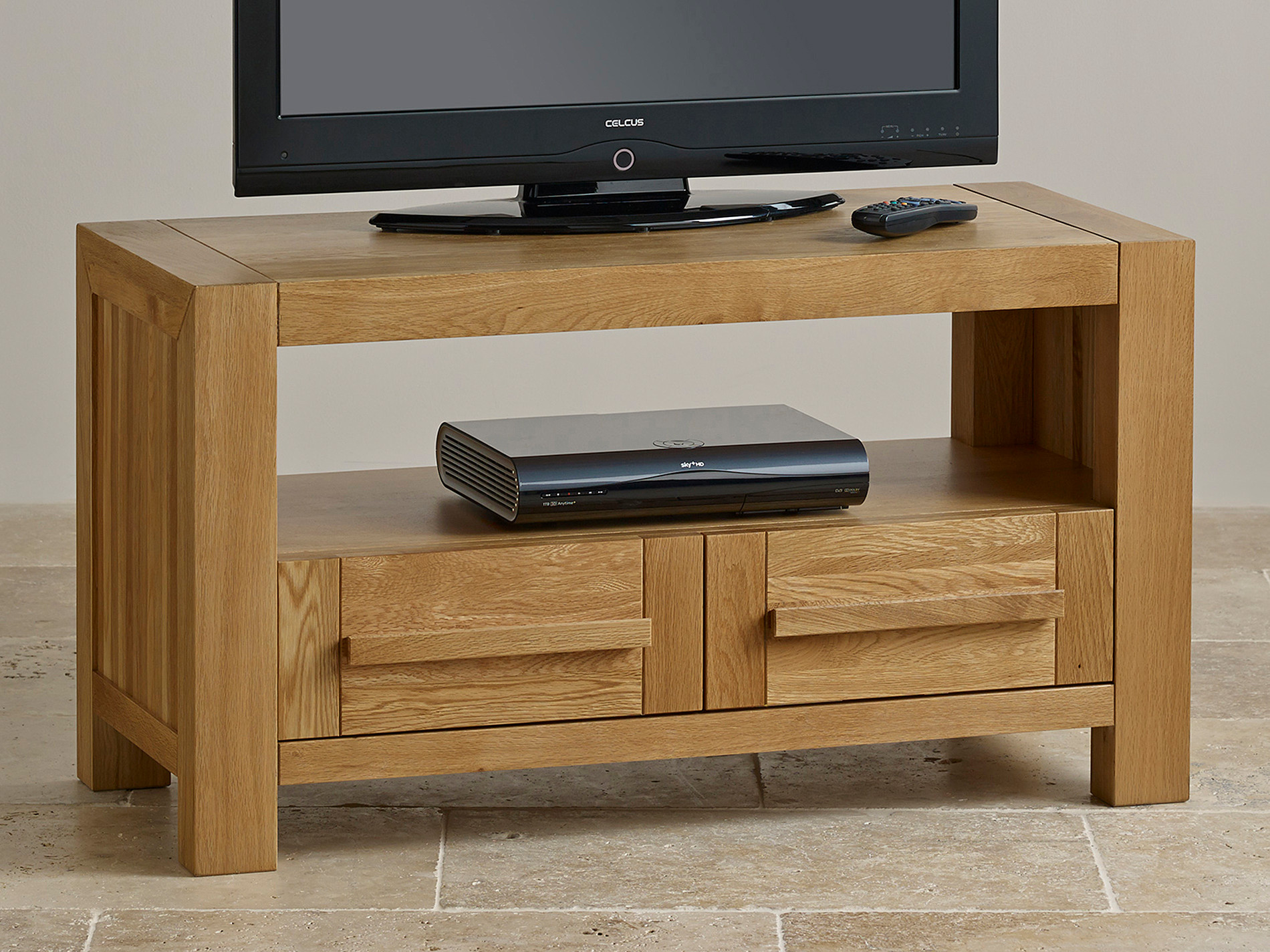 Fresco Natural Solid Oak 2 Drawer TV Cabinet